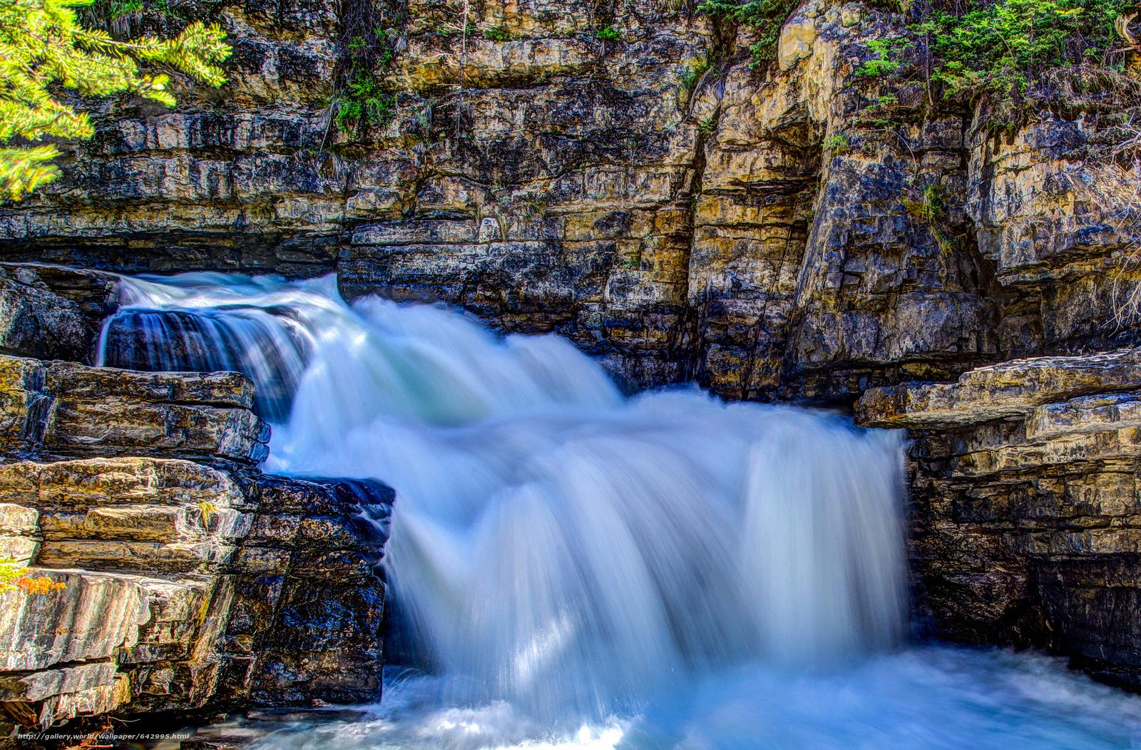 scaricare gli sfondi Piccola cascata lungo Johnston Creek,  Parco Nazionale di Banff,  Alberta,  Canada Sfondi gratis per la risoluzione del desktop 2048x1346 — immagine №642995