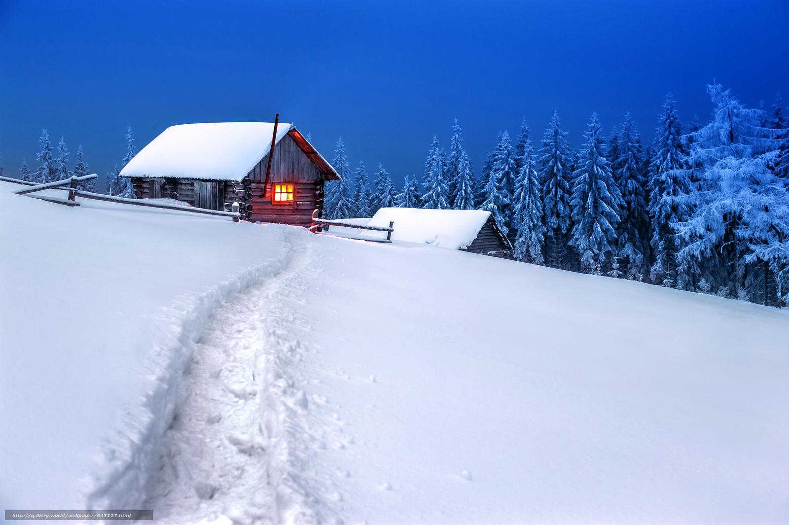 Скачать обои зима,  сугробы,  снег,  домик бесплатно для рабочего стола в разрешении 6016x4004 — картинка №643127