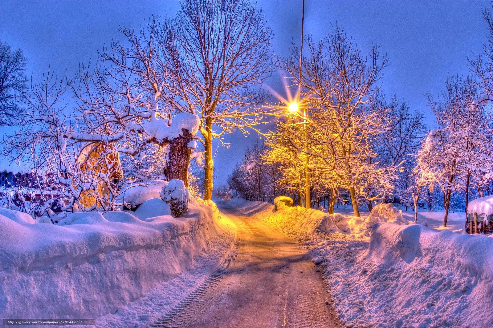 Скачать обои зима,  дорога,  деревья,  домик бесплатно для рабочего стола в разрешении 2100x1400 — картинка №643164