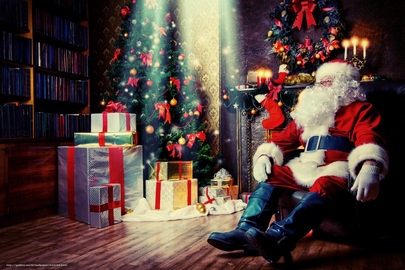 Скачать обои новогодняя ёлка,  дед мороз,  санта клаус,  подарки бесплатно для рабочего стола в разрешении 5600x3737 — картинка №643199