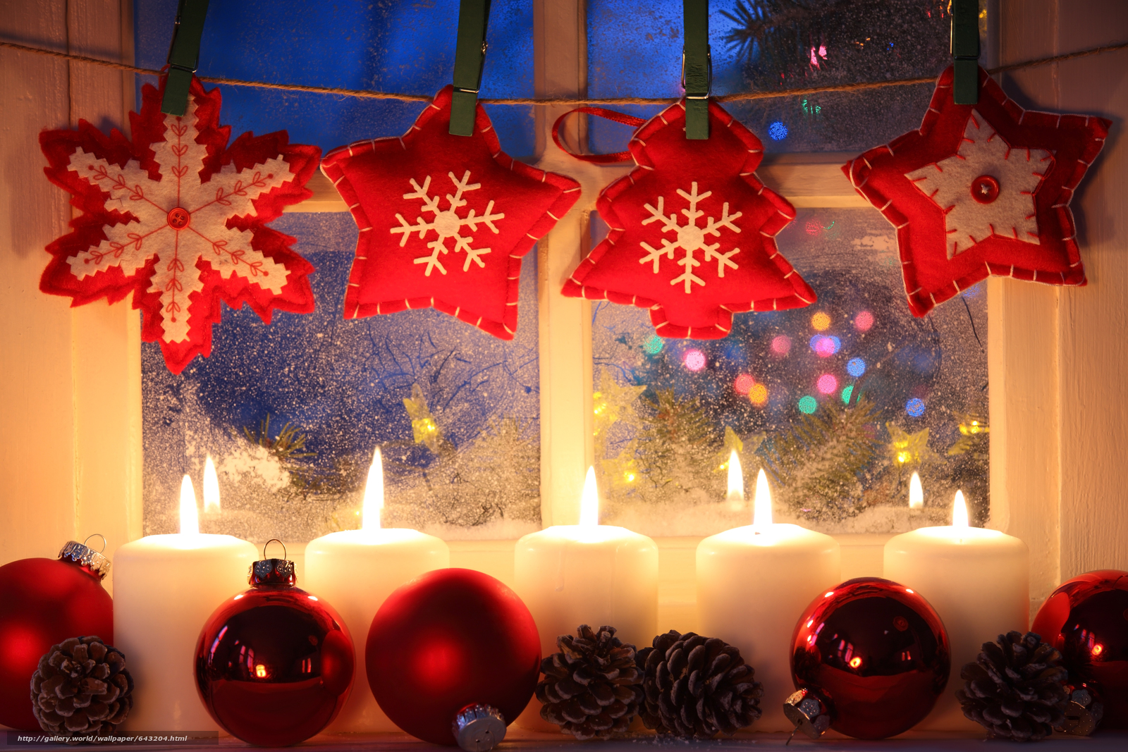Download wallpaper Christmas,  New Year,  Candles,  window free desktop wallpaper in the resolution 5616x3744 — picture №643204