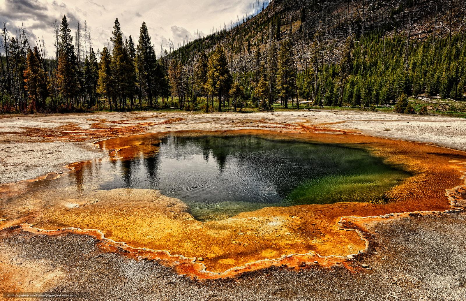 Descargar gratis Estanque de agua colorida en Yellowstone,  Parque Nacional de Yellowstone,  paisaje Fondos de escritorio en la resolucin 2048x1322 — imagen №643666