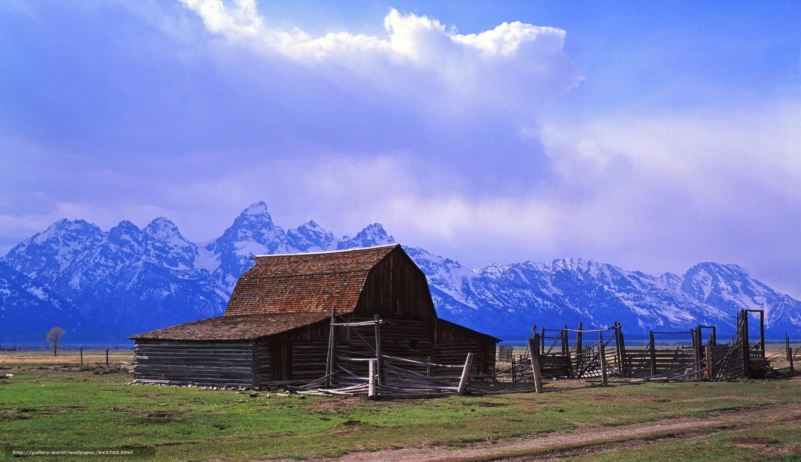 Скачать обои Thomas Moulton Barn,  Mormon Row,  Grand Teton National Park,  хижина бесплатно для рабочего стола в разрешении 7524x4346 — картинка №643705