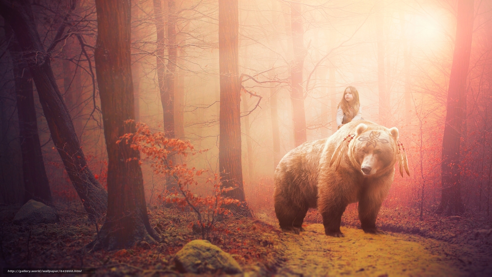 Download wallpaper girl. bear,  forest,  fantasy,  situation free desktop wallpaper in the resolution 1920x1080 — picture №643860