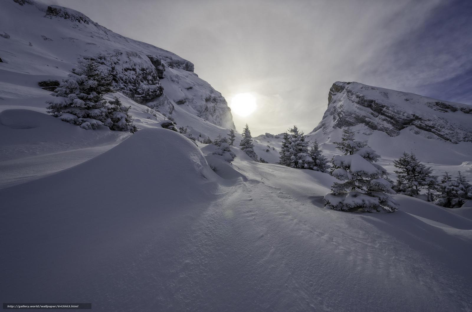 Tlcharger Fond d'ecran hiver,  coucher du soleil,  neige,  arbres Fonds d'ecran gratuits pour votre rsolution du bureau 2048x1356 — image №643963