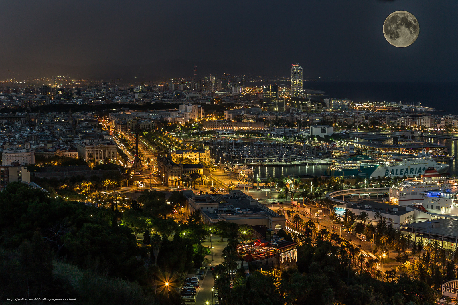 Download wallpaper barcelona,  Katoloniya,  night,  city free desktop wallpaper in the resolution 2048x1365 — picture №644373