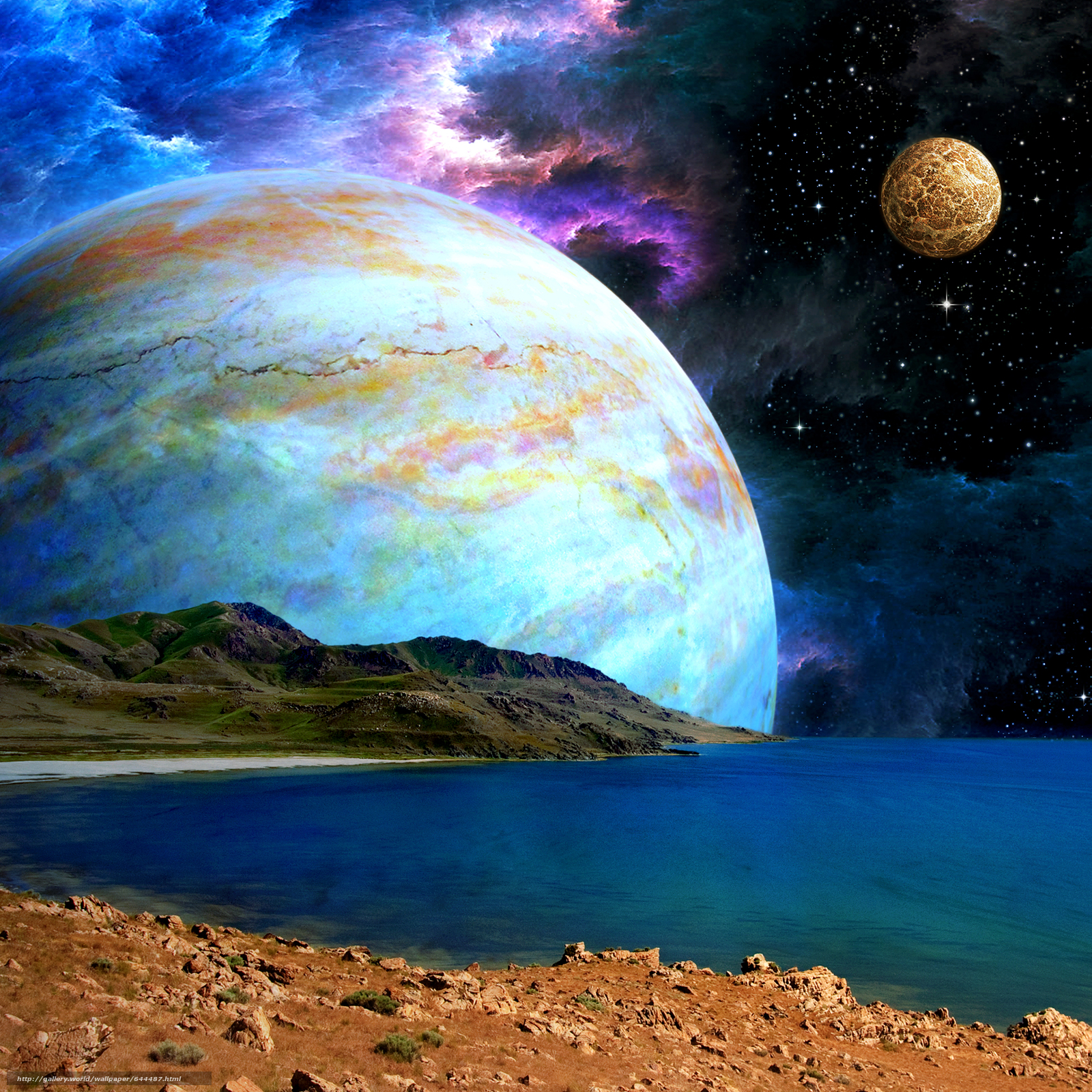 Download wallpaper space,  Planet,  3d,  art free desktop wallpaper in the resolution 2500x2500 — picture №644487