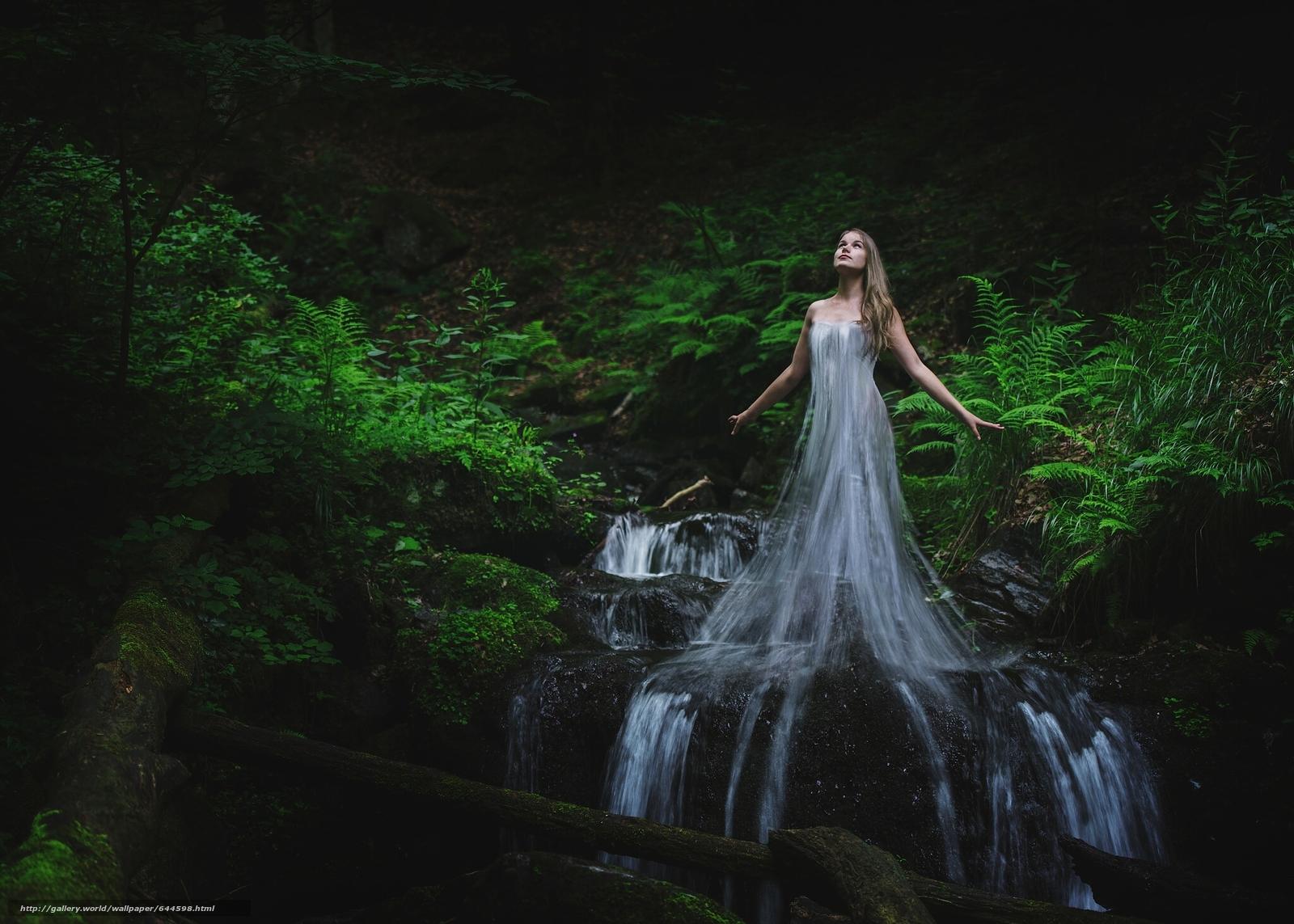 scaricare gli sfondi ragazza,  acqua,  foresta,  torrente Sfondi gratis per la risoluzione del desktop 2048x1463 — immagine №644598