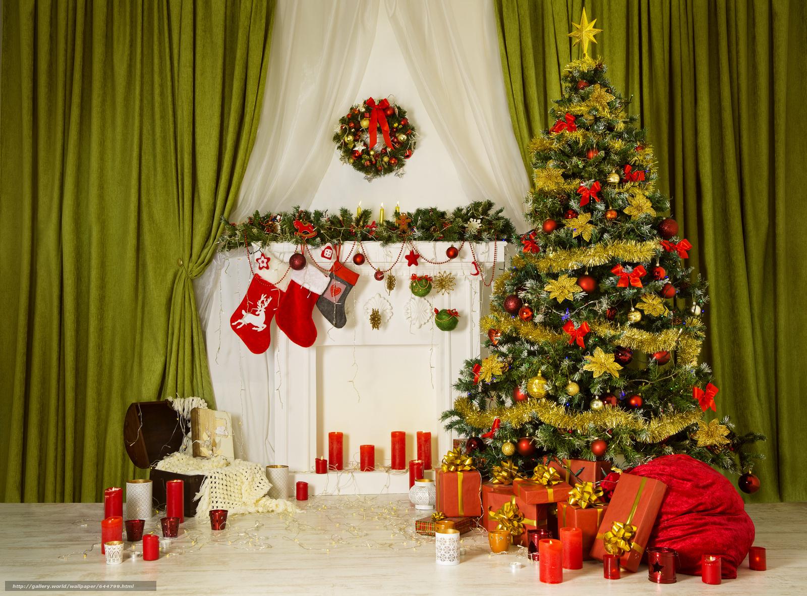 Скачать обои новый год,  новогодняя ёлка,  свечи,  новогодний интерьер бесплатно для рабочего стола в разрешении 5011x3699 — картинка №644799
