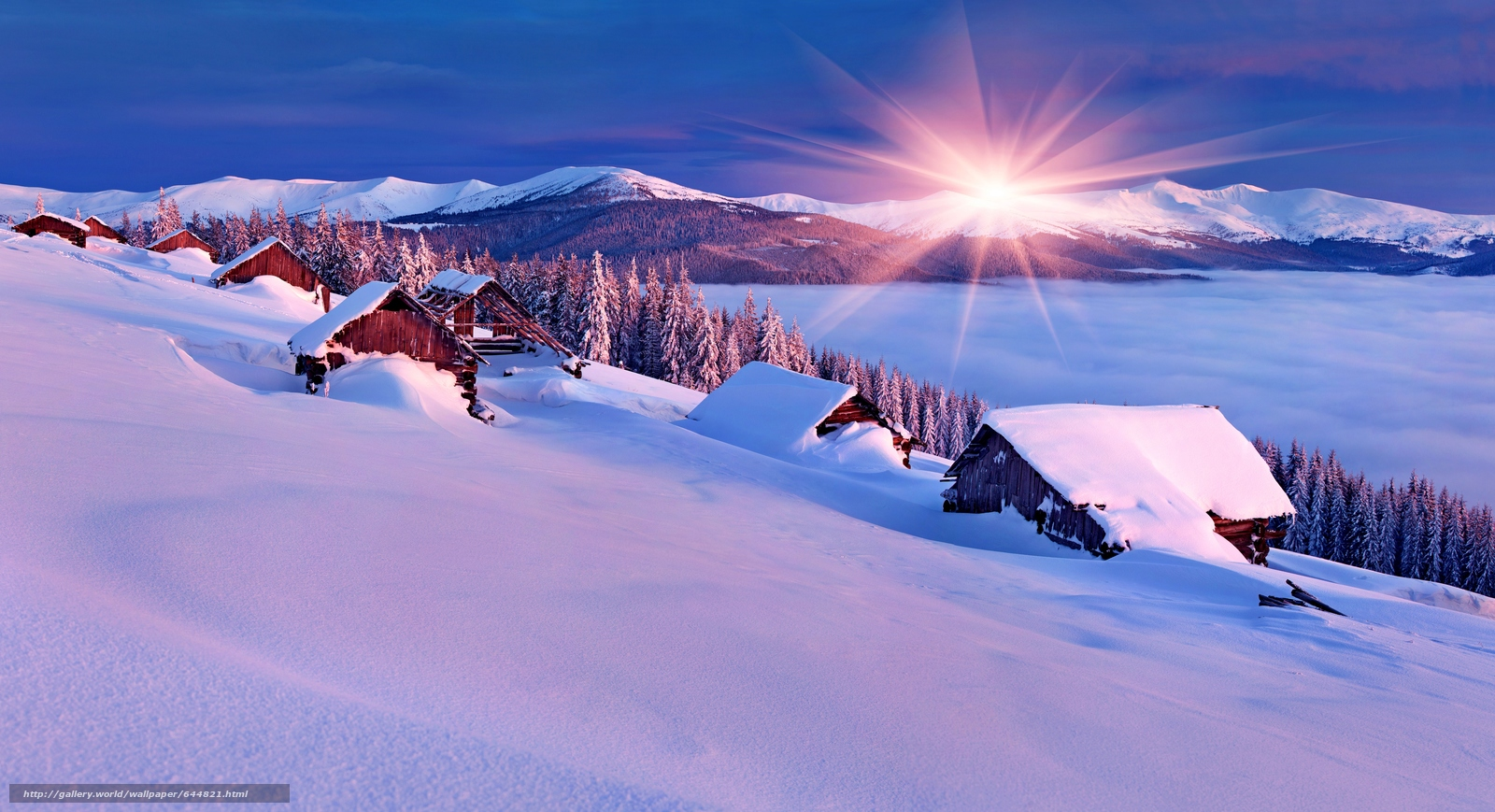Download wallpaper winter,  sunset,  Mountains,  lake free desktop wallpaper in the resolution 7000x3800 — picture №644821