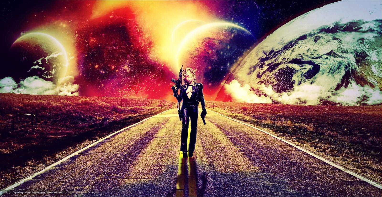 Descargar gratis carretera,  chica,  Planeta,  3d Fondos de escritorio en la resolucin 4272x2209 — imagen №644824