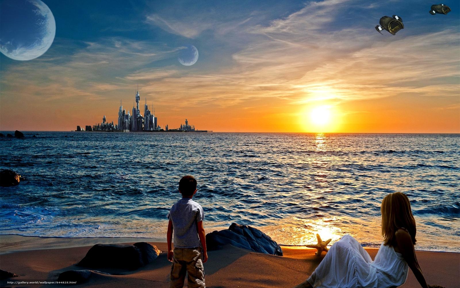 Baixar Wallpaper pôr do sol,  costa,  cidade,  crianças Papis de parede grtis na resoluo 1920x1200 — quadro №644825