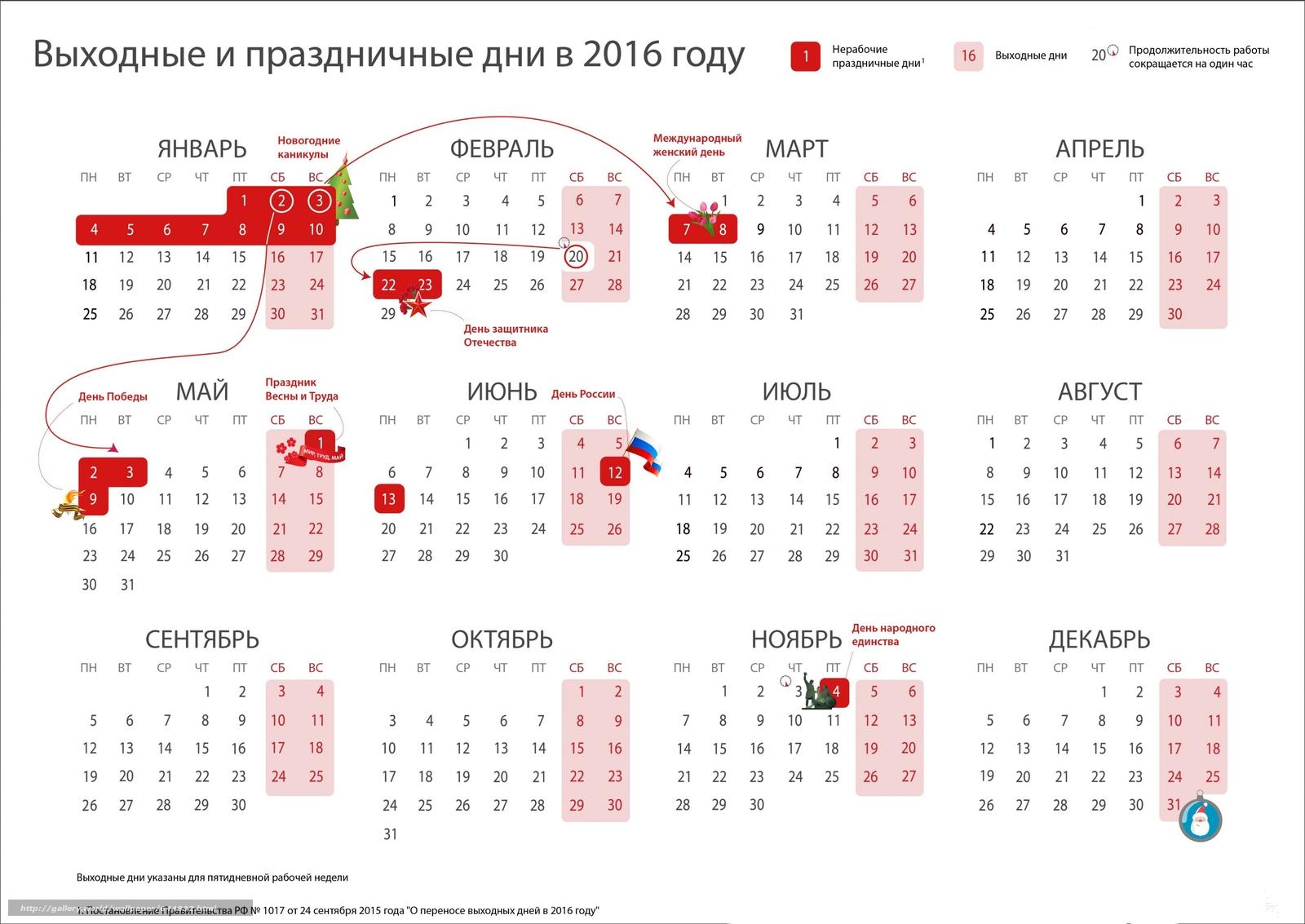 Скачать обои календарь на 2016 год,  выходные праздники,  постановление правительства РФ бесплатно для рабочего стола в разрешении 2500x1770 — картинка №644832