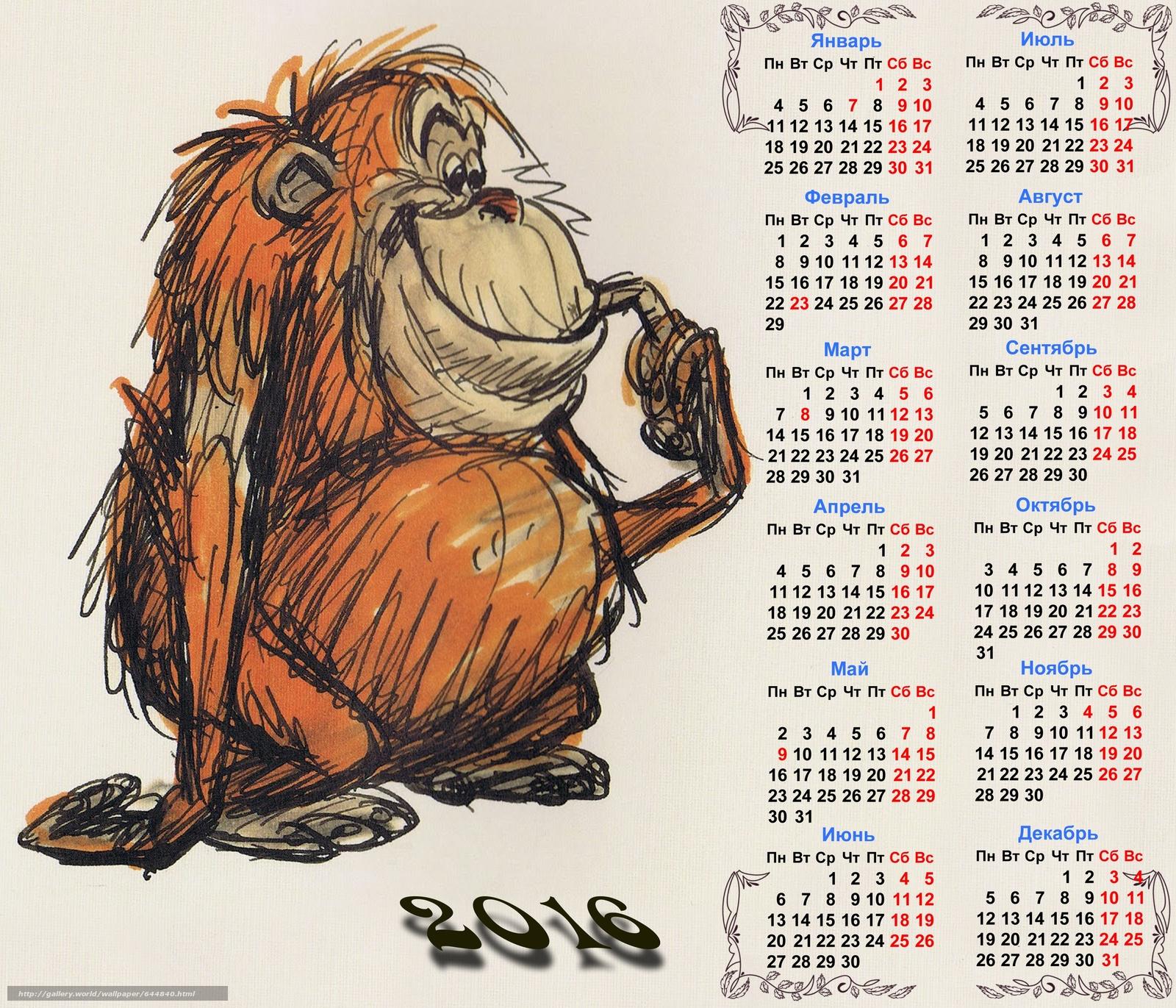 Скачать обои календарь на 2016 год,  календарь с обезьяной,  2016 бесплатно для рабочего стола в разрешении 3000x2571 — картинка №644840