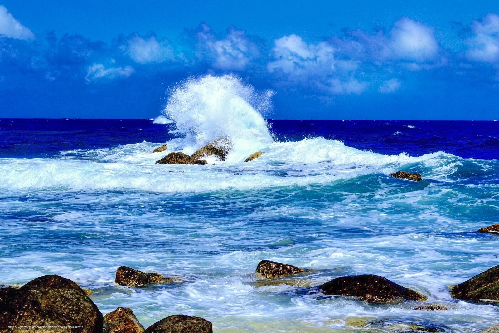 Скачать обои море,  волны,  камни,  скалы бесплатно для рабочего стола в разрешении 2592x1728 — картинка №644853