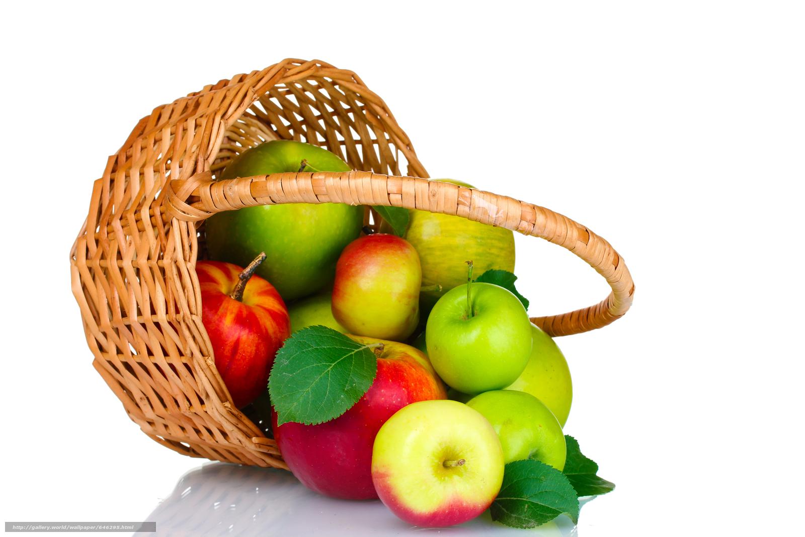 壁紙をダウンロード りんご,  フルーツ,  バスケット デスクトップの解像度のための無料壁紙 5184x3456 — 絵 №646295