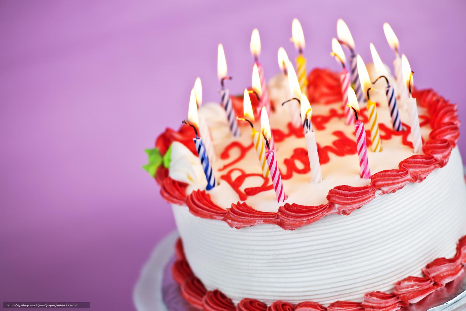Скачать обои торт,  свечи,  еда бесплатно для рабочего стола в разрешении 6048x4032 — картинка №646423