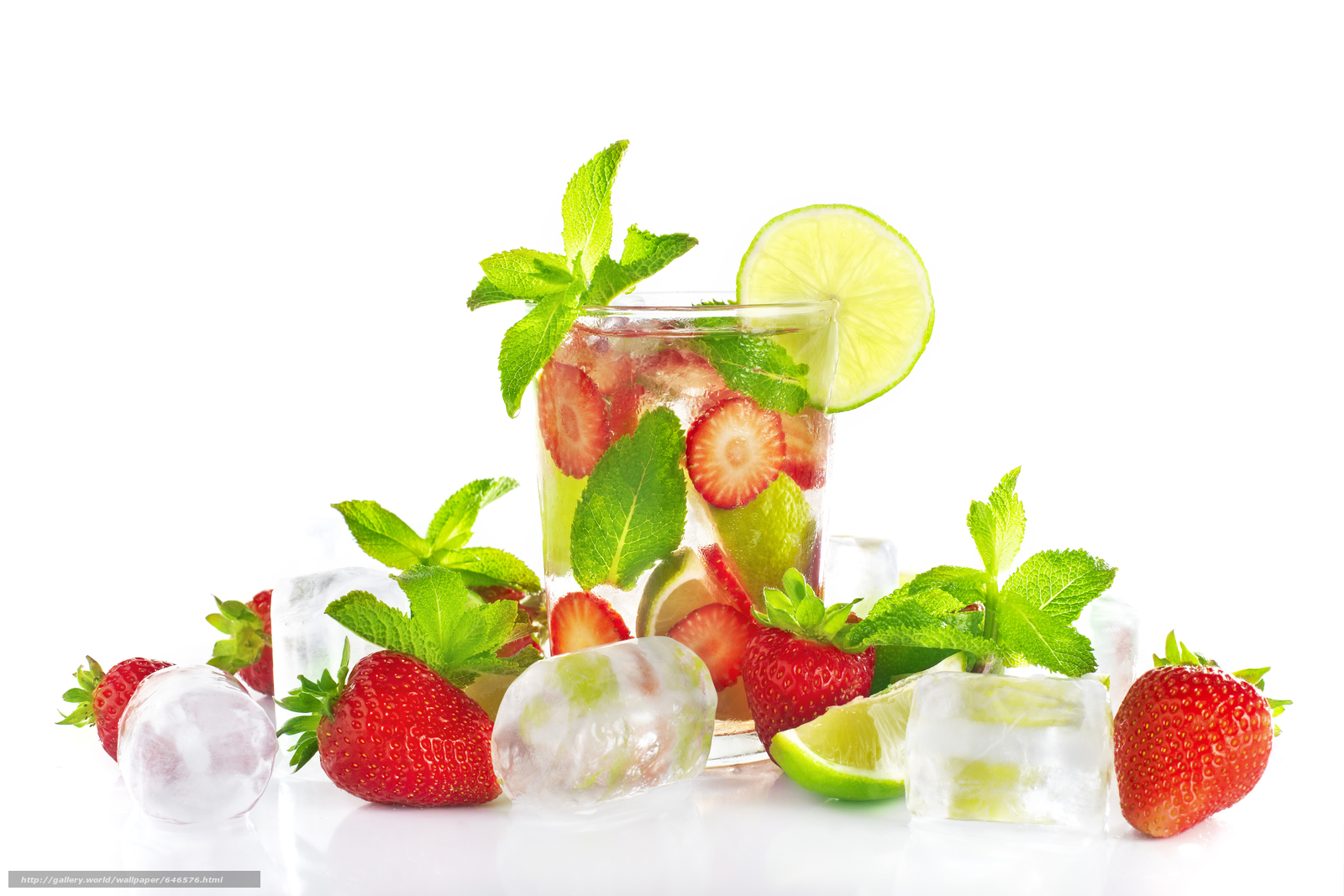 Download wallpaper Cocktails,  drinks,  water,  strawberries free desktop wallpaper in the resolution 5616x3744 — picture №646576