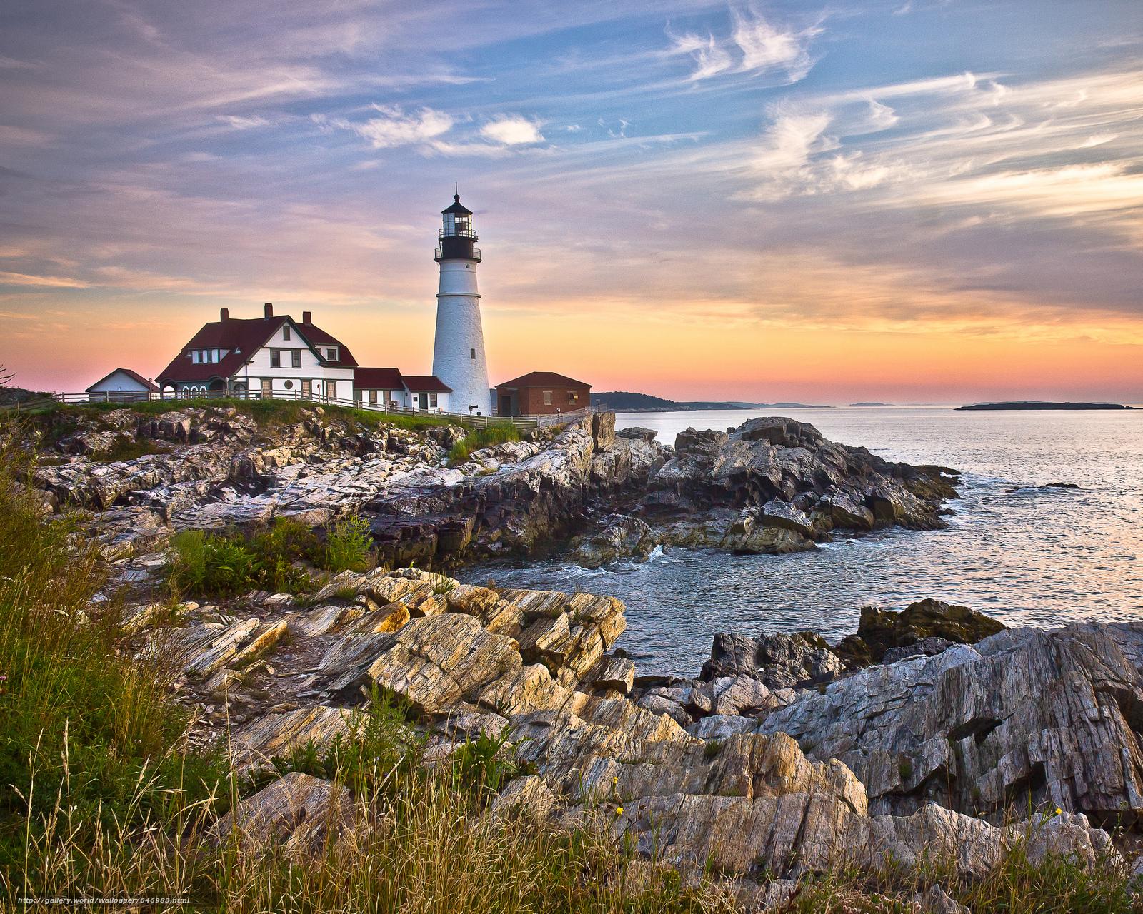 Скачать обои Portland Head Light,  Cape Elizabeth,  Maine,  маяк бесплатно для рабочего стола в разрешении 2048x1638 — картинка №646983