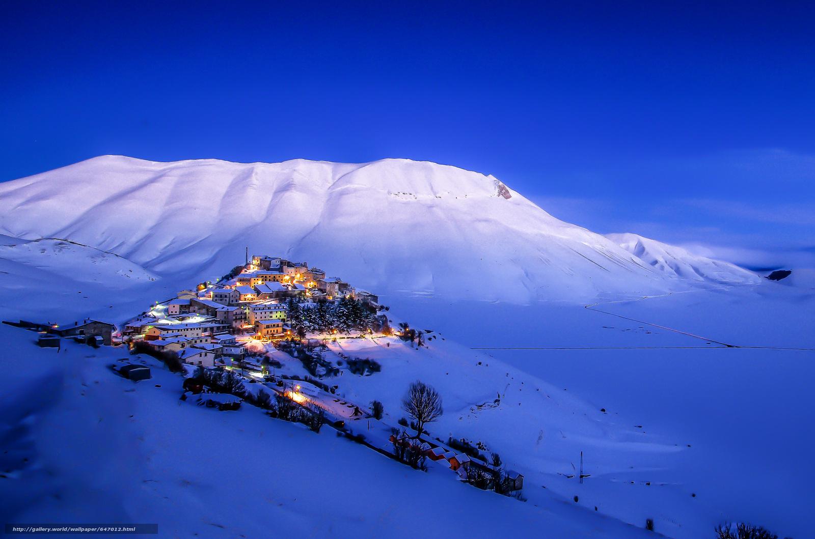 Tlcharger Fond d'ecran hiver,  Castelluccio,  hiver,  Montagnes Fonds d'ecran gratuits pour votre rsolution du bureau 2048x1356 — image №647012