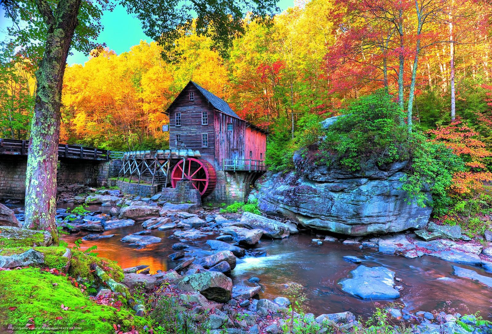 scaricare gli sfondi Glade Creek Grist Mill,  Babcock State Park,  autunno,  cascata Sfondi gratis per la risoluzione del desktop 7984x5420 — immagine №647135