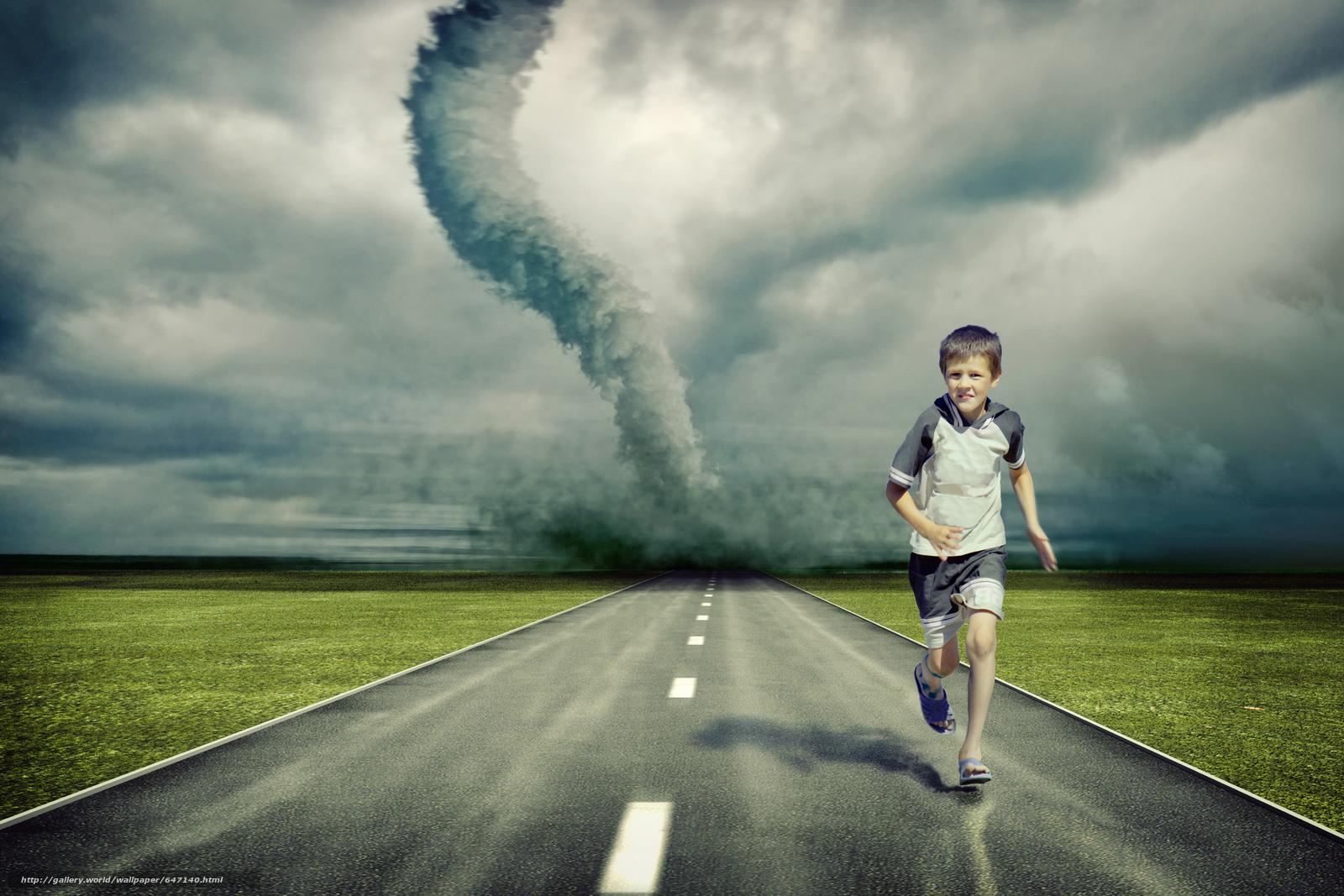 scaricare gli sfondi Tornado,  stradale,  ragazzo,  arte Sfondi gratis per la risoluzione del desktop 6000x4000 — immagine №647140