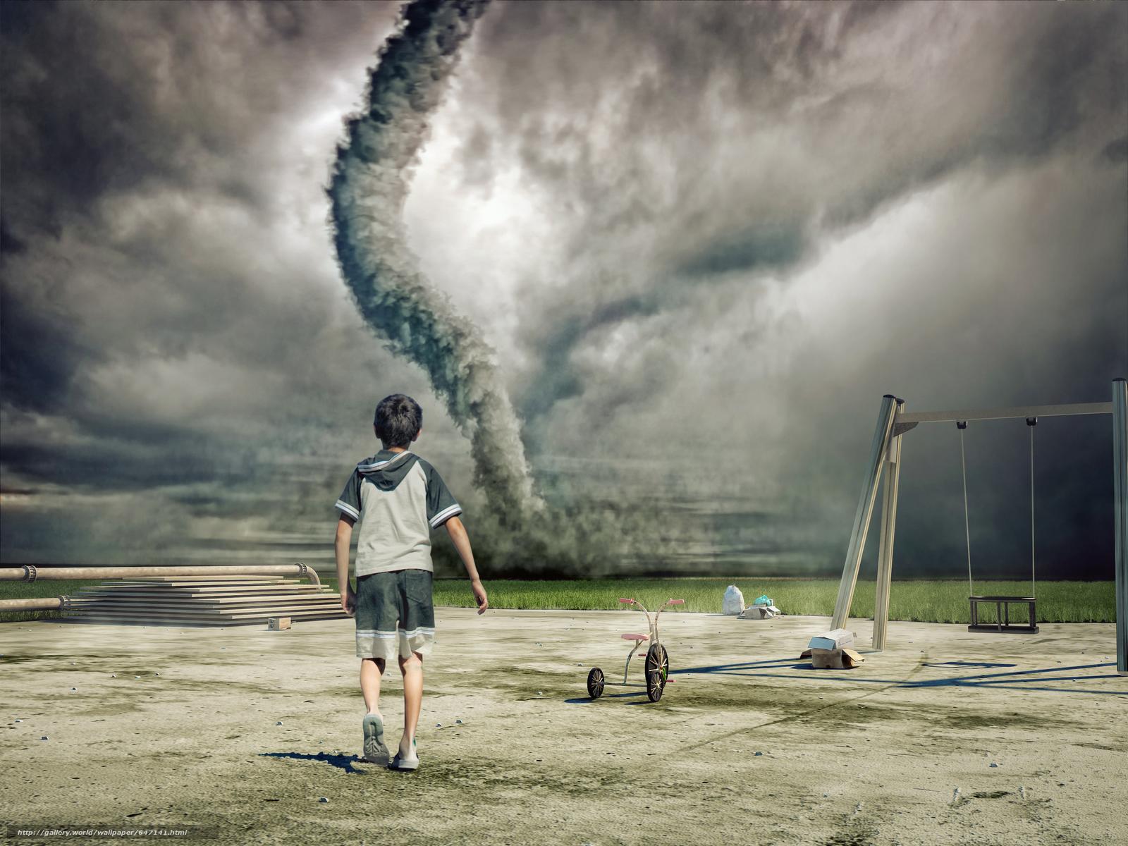 scaricare gli sfondi Tornado,  campo,  ragazzo,  arte Sfondi gratis per la risoluzione del desktop 6000x4500 — immagine №647141