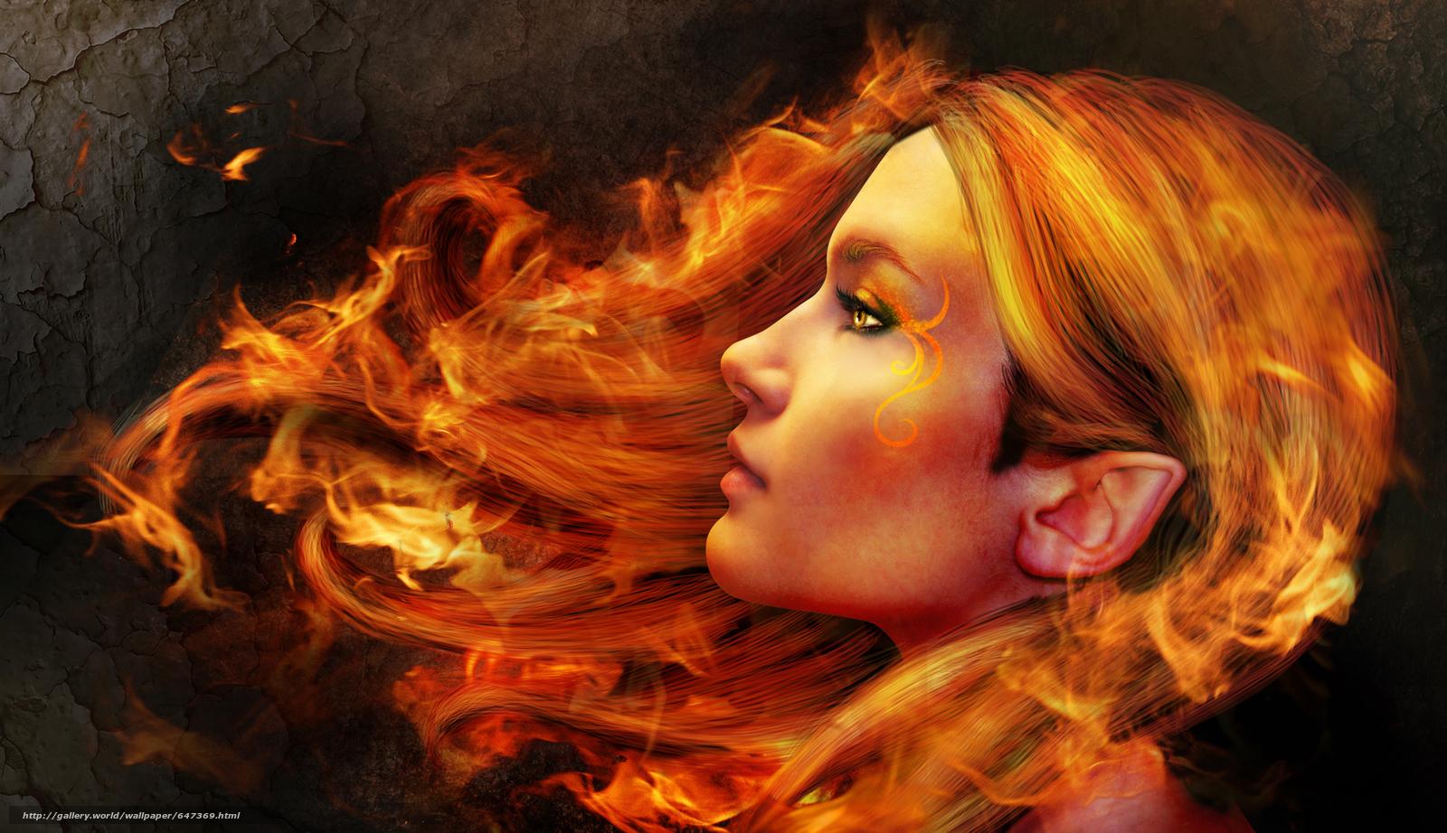 Скачать обои девушка,  эльф,  волосы в огне бесплатно для рабочего стола в разрешении 3816x2200 — картинка №647369