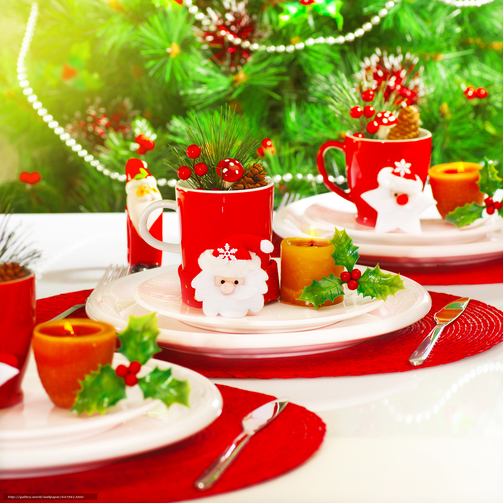 Download wallpaper New Year's table,  crockery,  holiday free desktop wallpaper in the resolution 7124x7124 — picture №647561