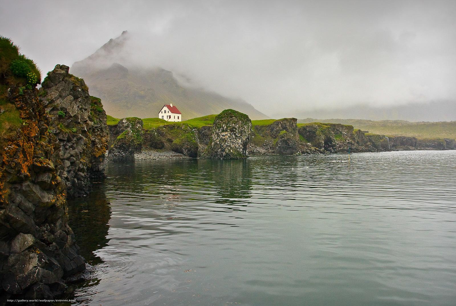 Скачать обои горы,  водоем,  туман,  домик бесплатно для рабочего стола в разрешении 3000x2011 — картинка №649444