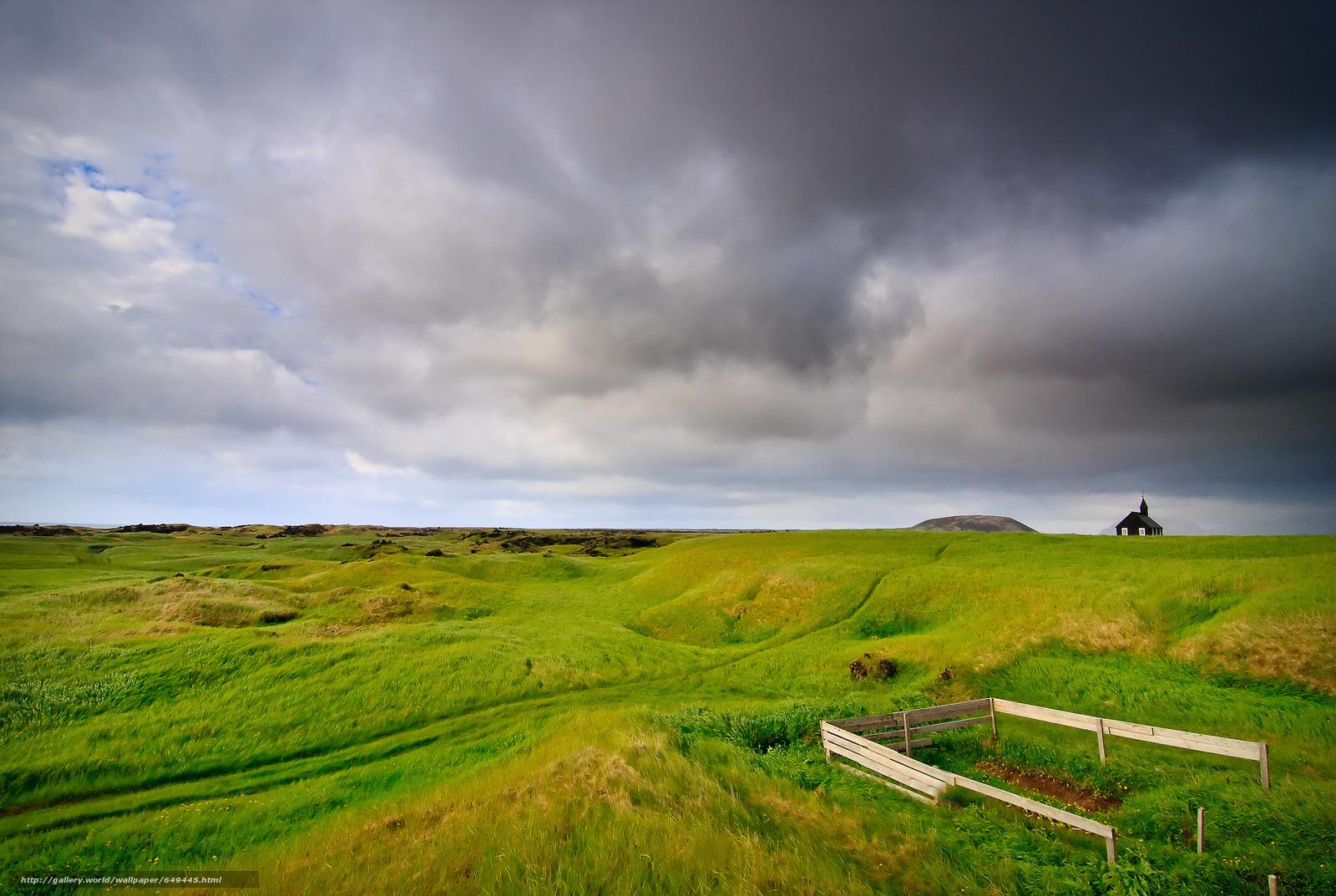 Скачать обои поле,  луг,  небо,  тучи бесплатно для рабочего стола в разрешении 3000x2011 — картинка №649445