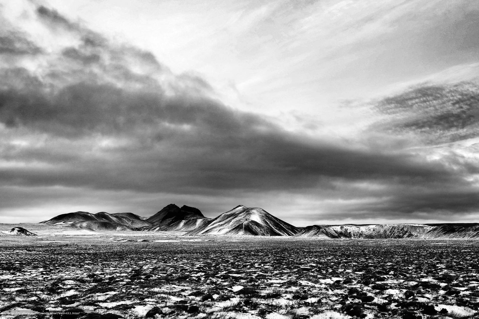 Скачать обои горы,  поле,  небо,  облака бесплатно для рабочего стола в разрешении 2500x1667 — картинка №649451