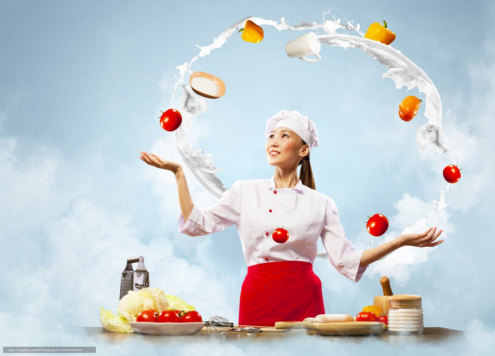 Download wallpaper girl,  Asian,  cook,  kitchen free desktop wallpaper in the resolution 3800x2734 — picture №649525