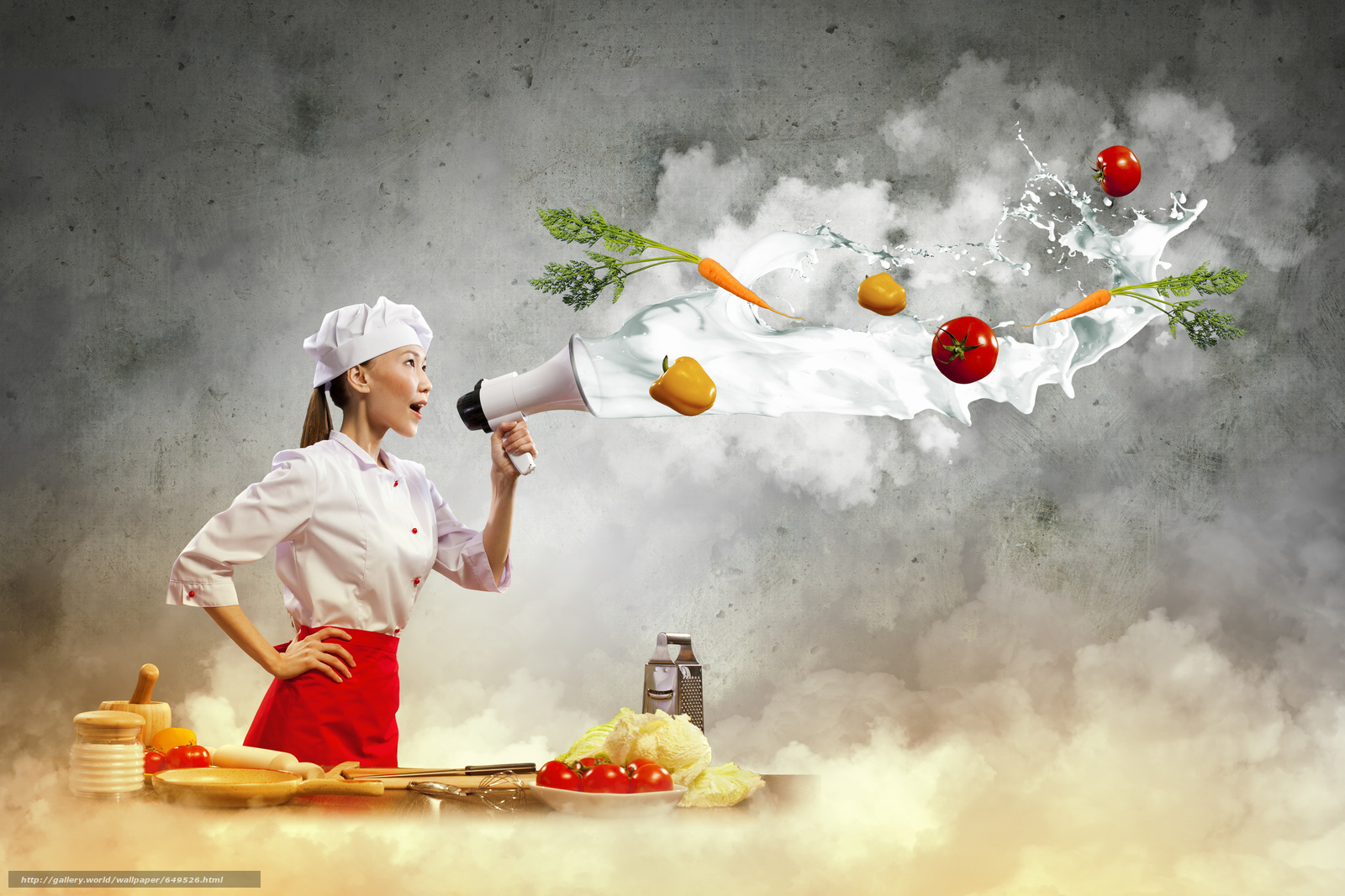 Download wallpaper girl,  Asian,  cook,  kitchen free desktop wallpaper in the resolution 3800x2533 — picture №649526