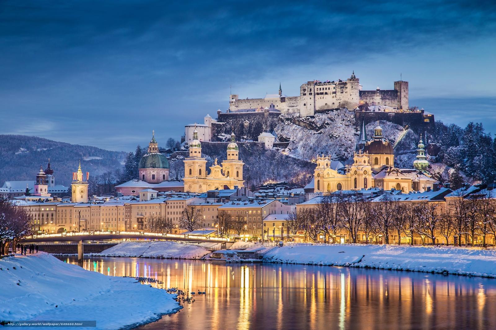 Download wallpaper Salzburg,  Austria,  Salzach River,  Festungsberg free desktop wallpaper in the resolution 6000x4000 — picture №649660