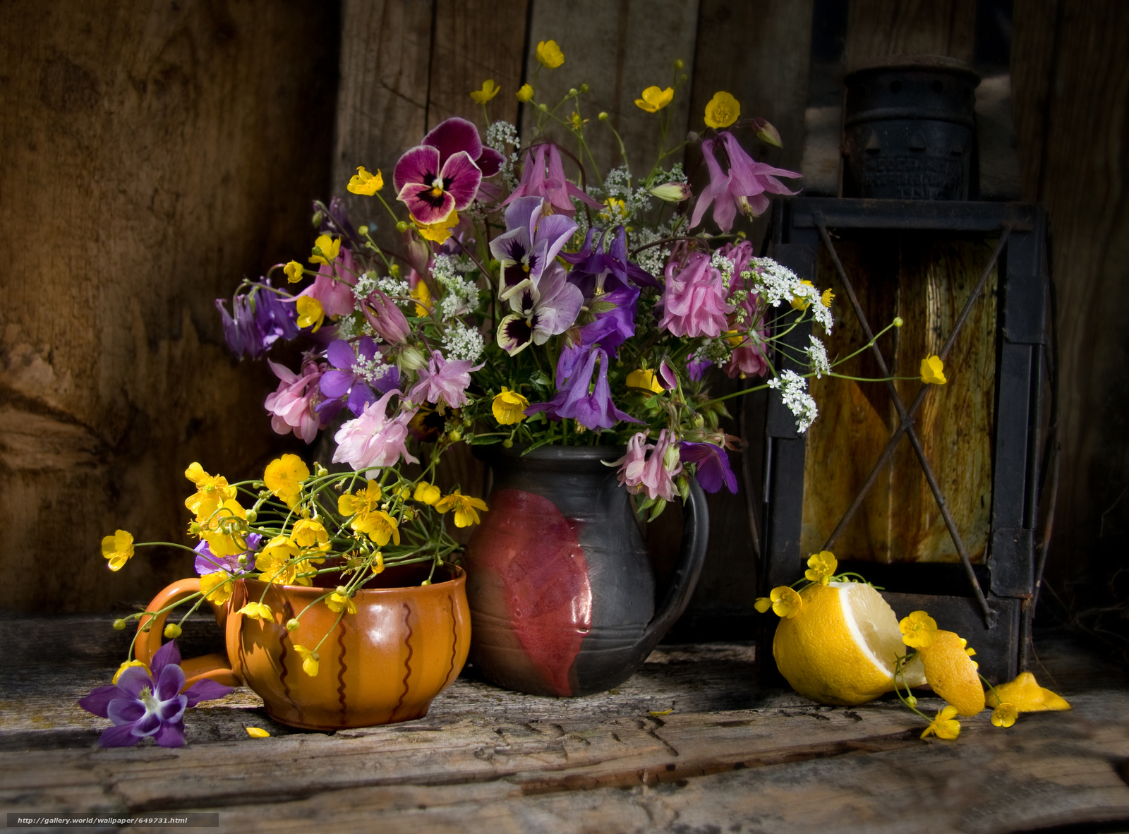 Download wallpaper still life,  Flowers,  pitcher,  Lemon free desktop wallpaper in the resolution 6792x5016 — picture №649731