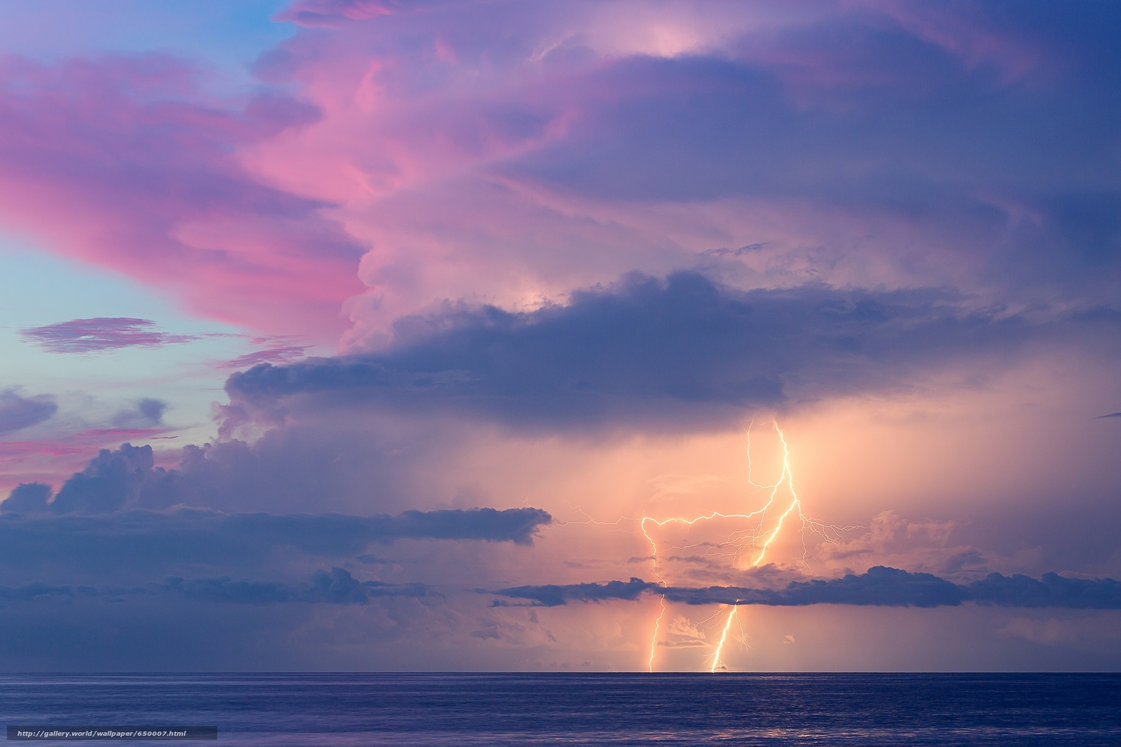 Скачать обои закат,  море,  молния,  облака бесплатно для рабочего стола в разрешении 2048x1365 — картинка №650007