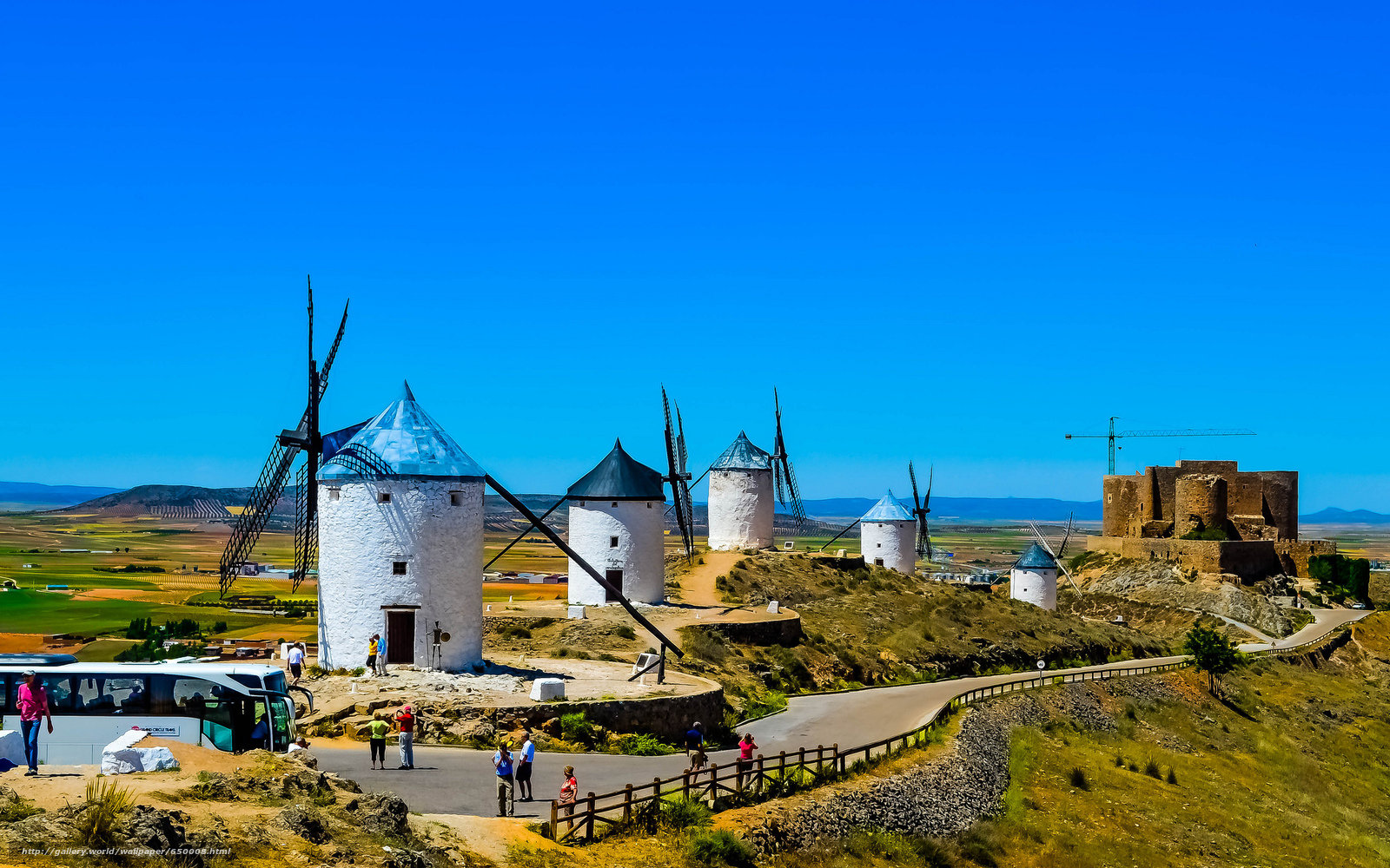 Download wallpaper La Mancha,  Spain,  windmills free desktop wallpaper in the resolution 2048x1280 — picture №650008