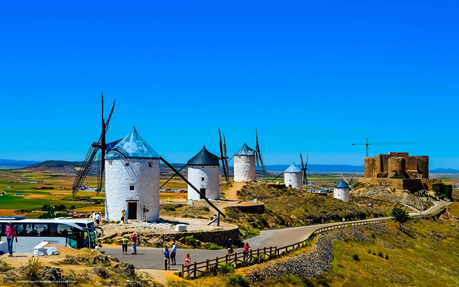 Baixar Wallpaper La Mancha,  Espanha,  moinhos de vento Papis de parede grtis na resoluo 2048x1280 — quadro №650008