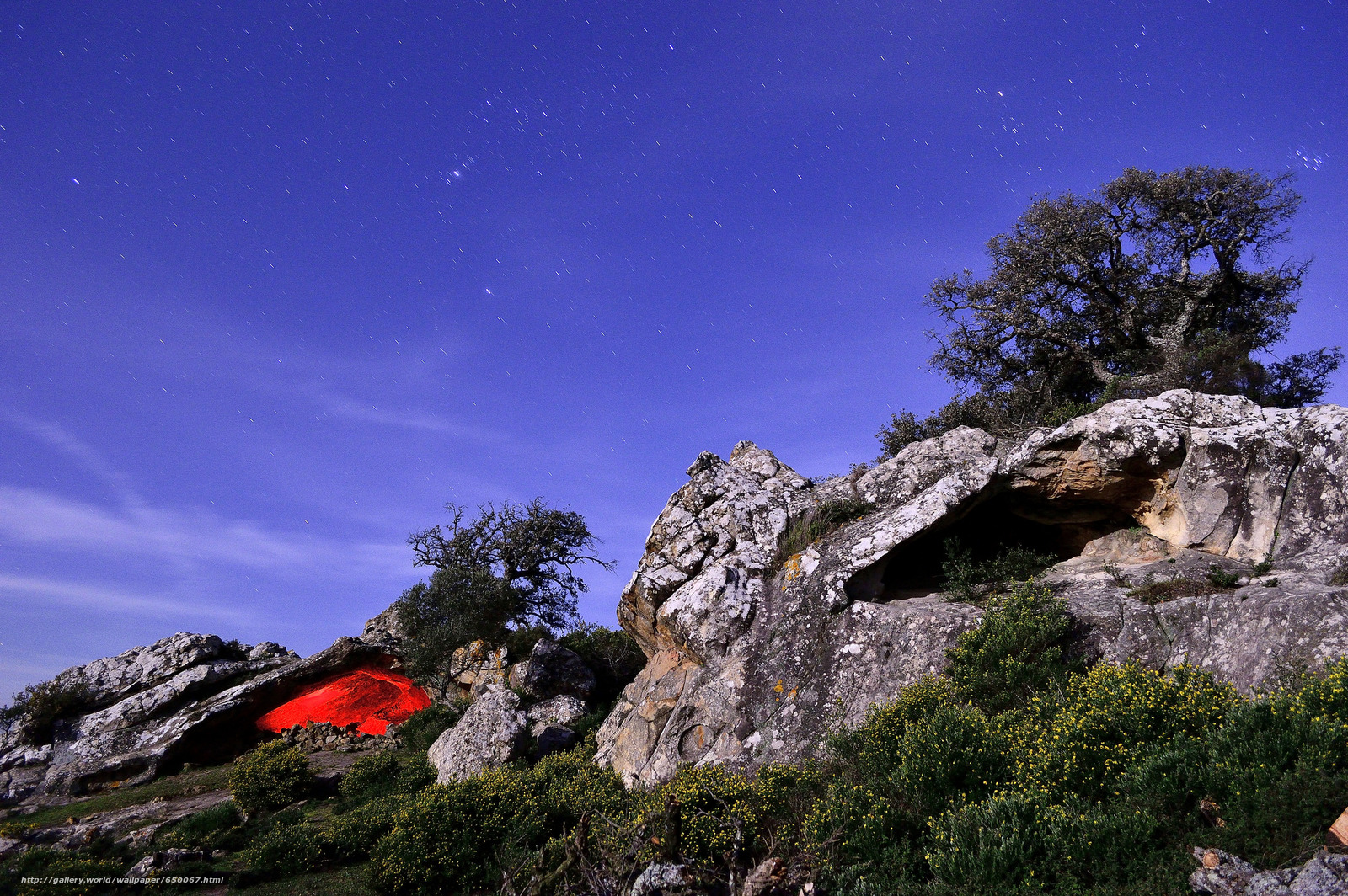 Скачать обои ночь,  небо,  деревья,  камни бесплатно для рабочего стола в разрешении 2048x1362 — картинка №650067