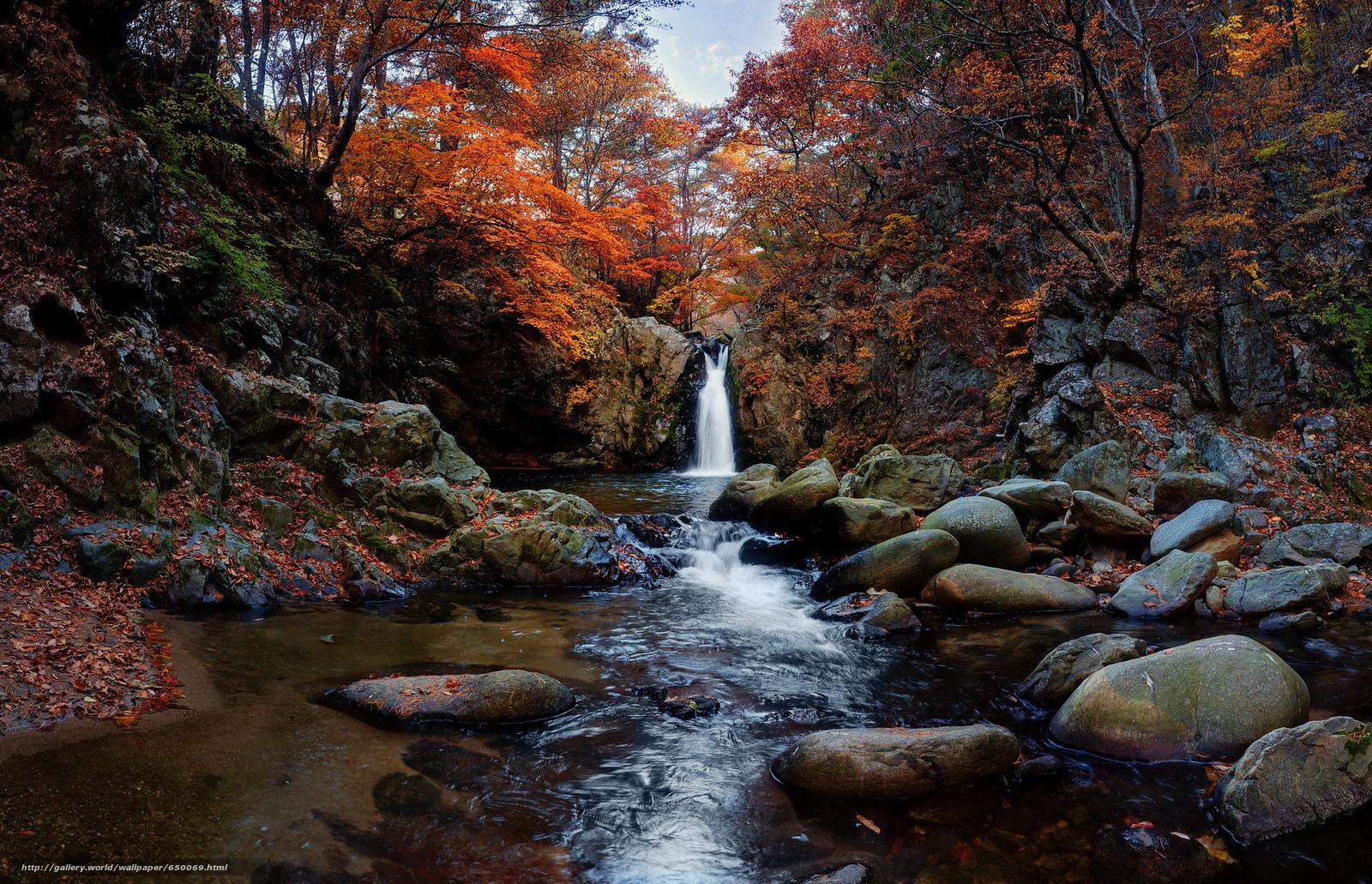 Скачать обои водопад,  осень,  камни,  деревья бесплатно для рабочего стола в разрешении 2048x1320 — картинка №650069