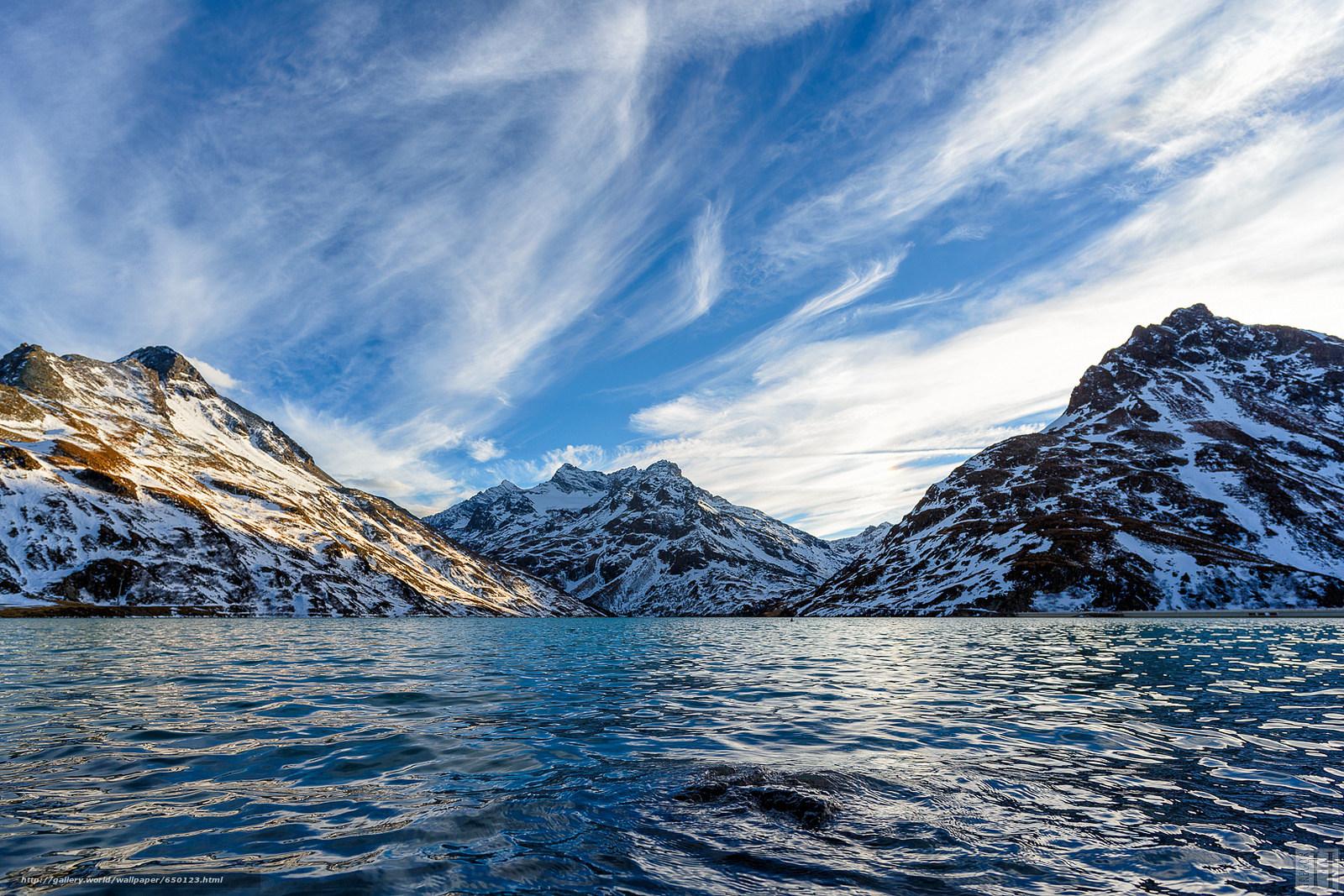 Скачать обои горы,  море,  небо,  снег бесплатно для рабочего стола в разрешении 1600x1067 — картинка №650123