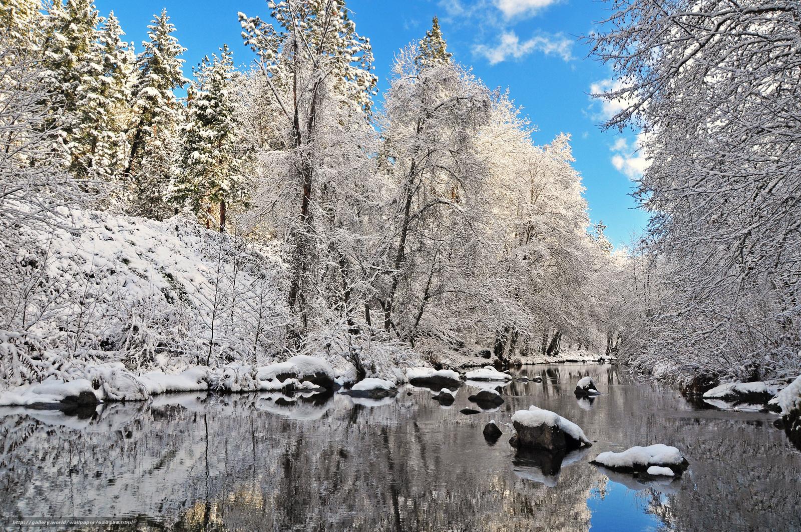 Descargar gratis invierno,  río,  árboles,  paisaje Fondos de escritorio en la resolucin 2048x1360 — imagen №650555