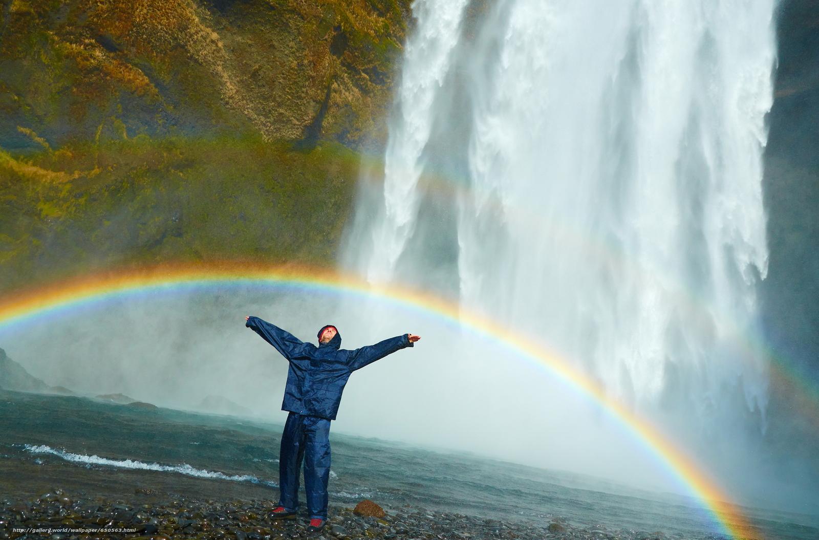 Descargar gratis cascada,  arco iris,  hombre,  positivo Fondos de escritorio en la resolucin 3840x2532 — imagen №650563