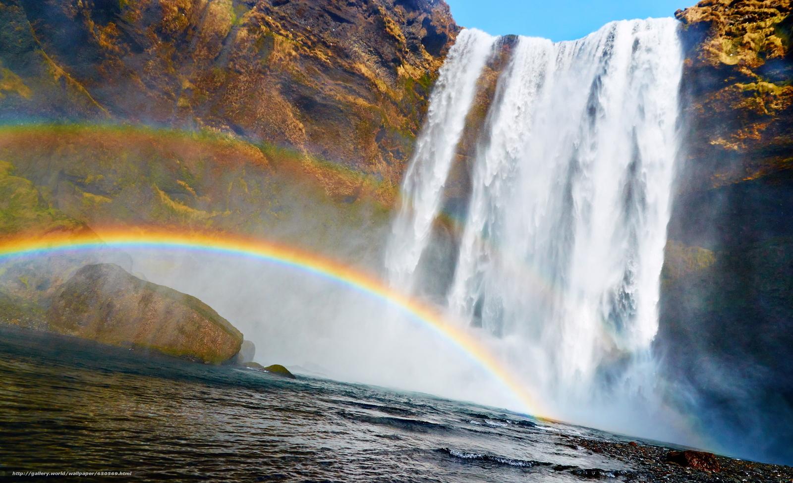 Скачать обои водопад,  радуга,  позитив бесплатно для рабочего стола в разрешении 3840x2339 — картинка №650569