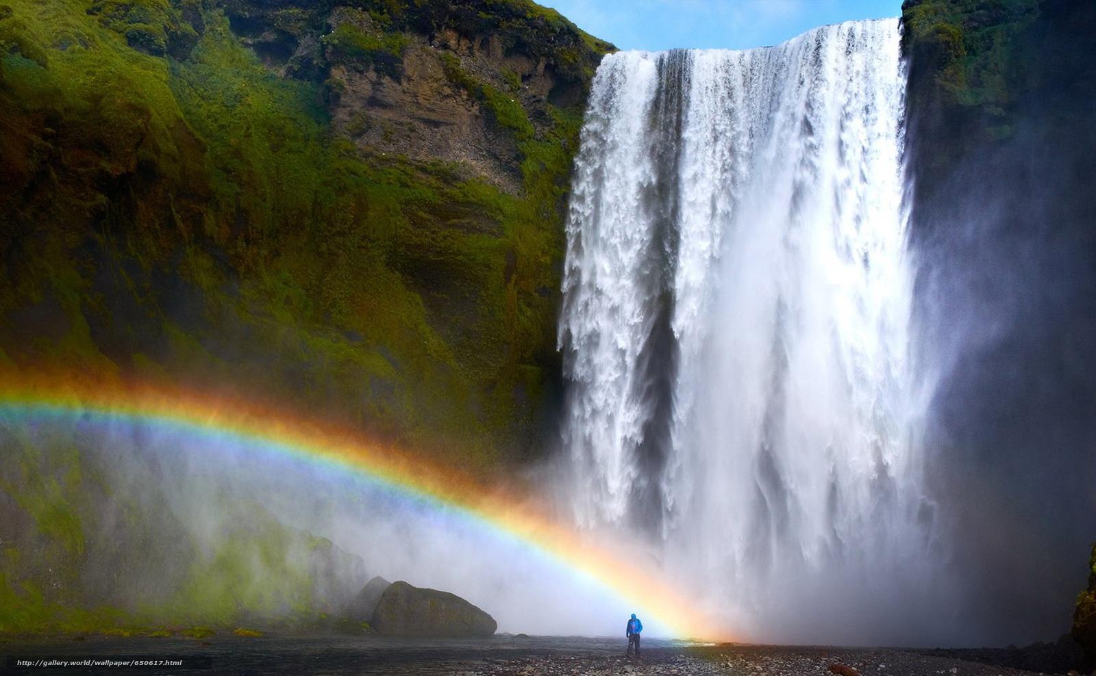 Скачать обои водопад,  радуга,  человек бесплатно для рабочего стола в разрешении 1920x1185 — картинка №650617
