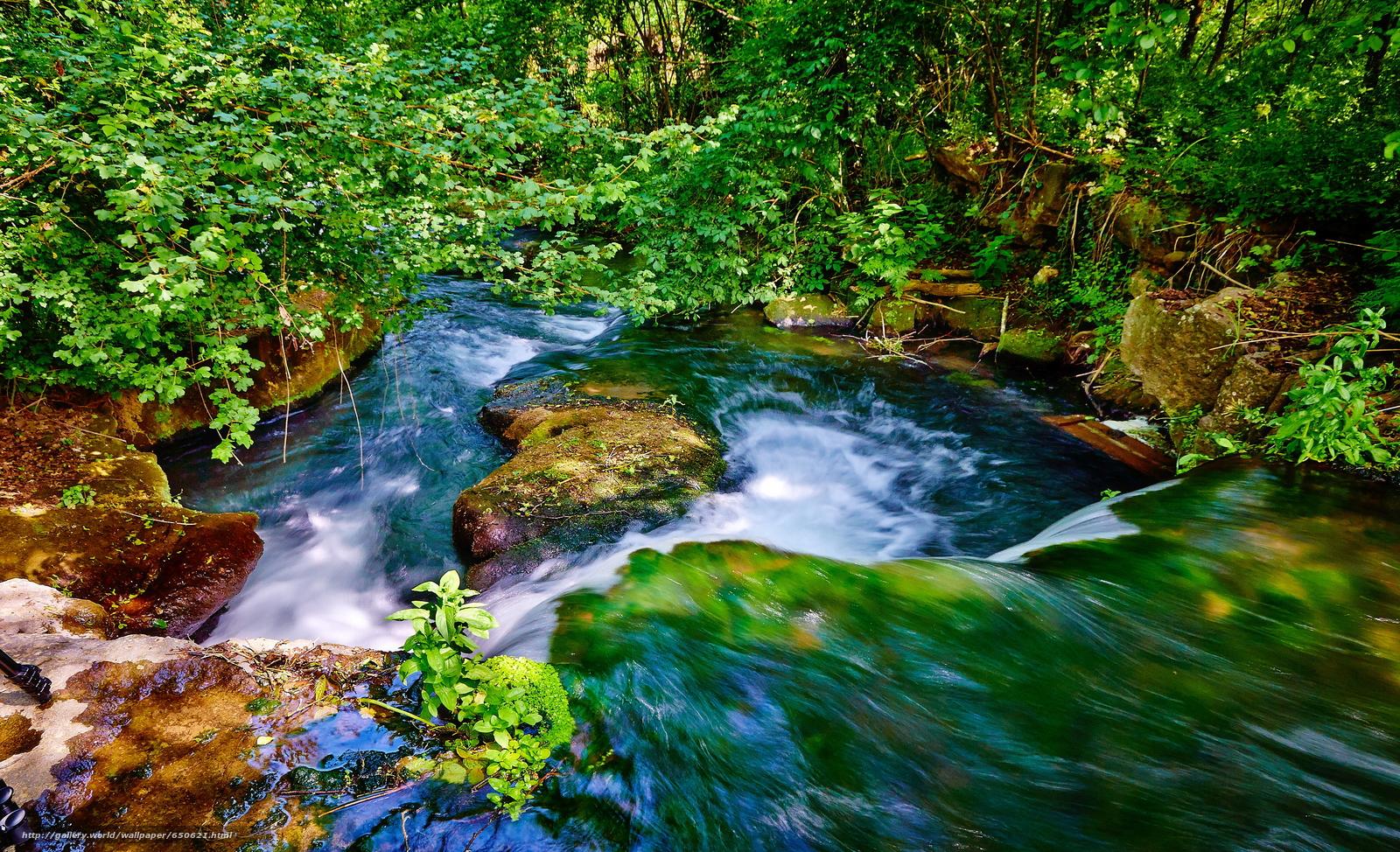 Скачать обои водопад,  камни,  лето,  зелень бесплатно для рабочего стола в разрешении 3840x2337 — картинка №650621