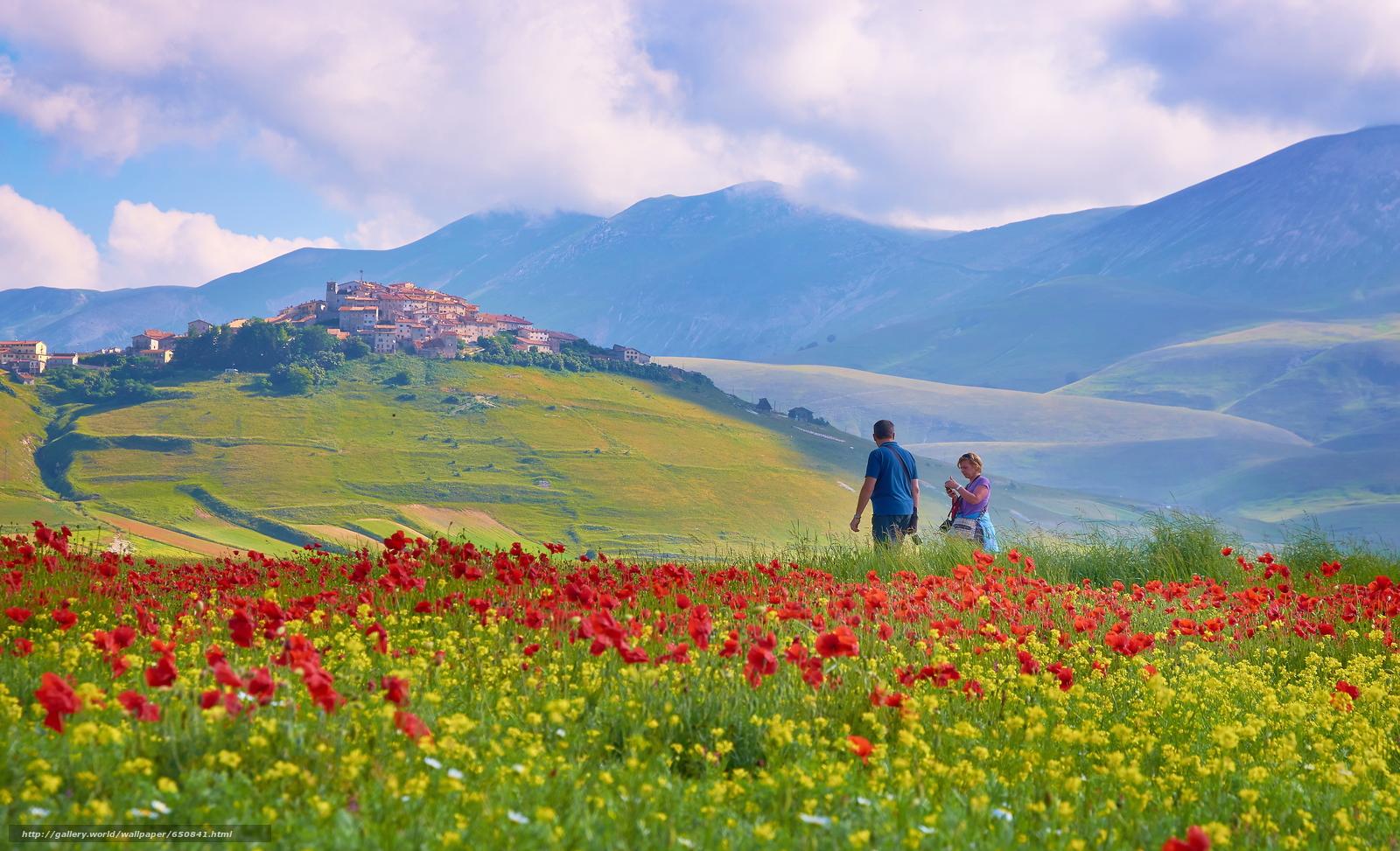 Скачать обои Италия,  горы,  поле,  небо бесплатно для рабочего стола в разрешении 3840x2334 — картинка №650841