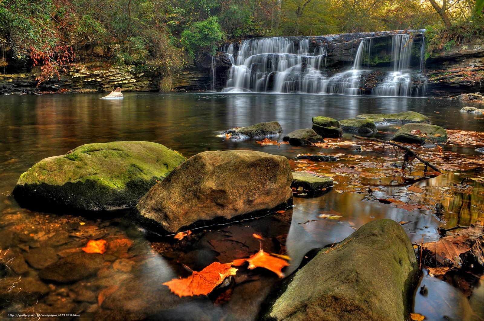 Скачать обои водопад,  скалы,  река,  лес бесплатно для рабочего стола в разрешении 2048x1360 — картинка №651818