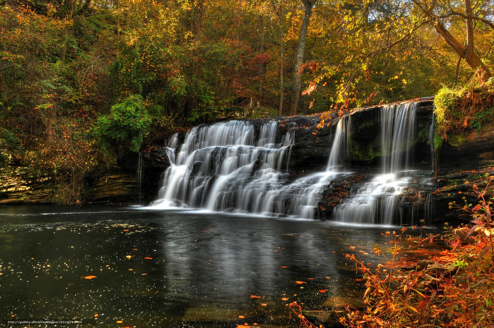 Download Hintergrund Wasserfall,  Rocks,  Fluss,  Wald Freie desktop Tapeten in der Auflosung 2048x1361 — bild №651819